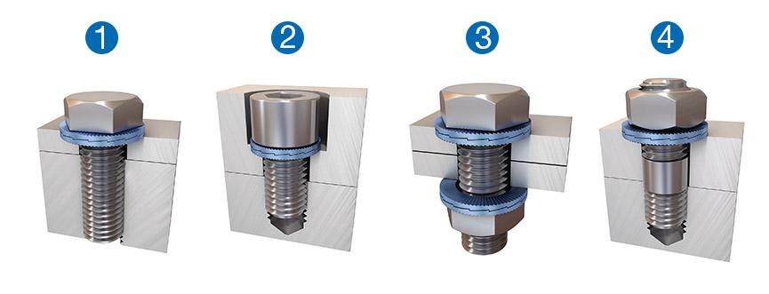 安装示例——Nord-Lock楔入式锁紧垫圈可配合各等级的螺钉使用。