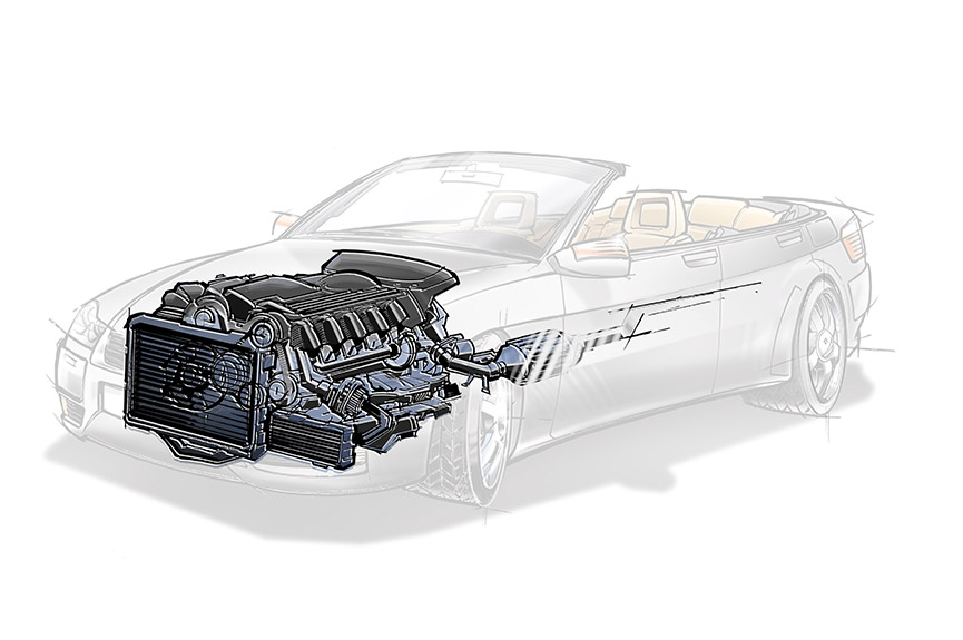 Illustration of convertible car with engine