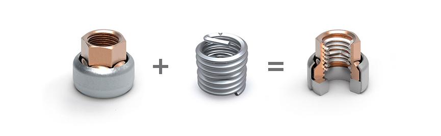 底座和垫圈+ HELICOIL® Screwlock = HELICOIL®自锁型螺母环形螺母型号带垫圈