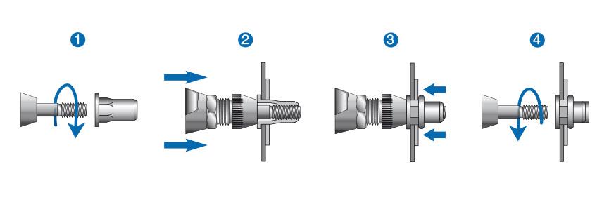 根据芯轴升降程序示例安装RIVKLE®铆螺母或铆螺柱。