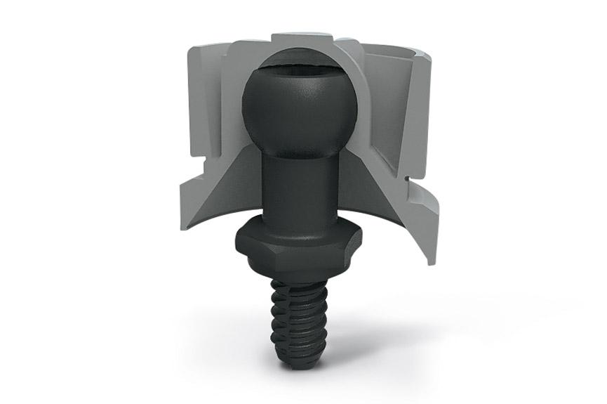 SNAPLOC®插接件由球头螺栓和球帽组成。